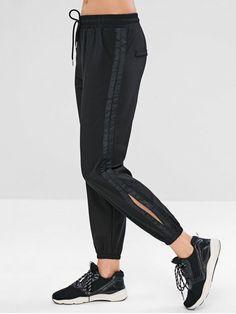 eb3cf7039c2 Drawstring Slit Jogger Pants. Girls In LeggingsSports LeggingsWorkout  LeggingsGirls Sports BrasJogger PantsJoggersBlack PantsBra  LingeriePinterest Fashion
