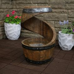Sunnydaze Spiraling Barrel Outdoor Water Fountain with LED Lights Home Hub Barrel Fountain indoor water fountains waterfall LED Lights Outdoor Spiraling Sunnydaze Water Backyard Patio, Backyard Landscaping, Backyard Waterfalls, Backyard Ponds, Indoor Water Fountains, Outdoor Fountains, Garden Fountains, Patio Fountain, Wine Barrel Furniture