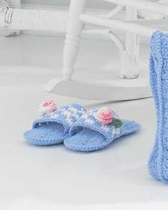 Free Crochet Pattern: Bright cozy slippers for everyday wear. Shown in Lily Sugar 'n Cream.