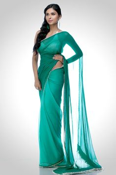 Chiffon saree with pearl work | Satya Paul