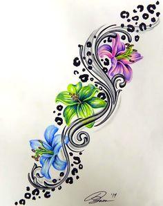 Colorful Leopard Print Flower Tattoo Design More
