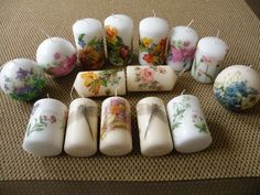 Decoupage spring collection candles by Lenka