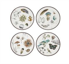 8 Round Stoneware Nature Plate, 4 Styles ©