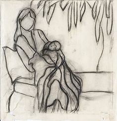 Modern Art Mother and Child Black and White Sketch - hand drawing, high q. wall decor, home decoration