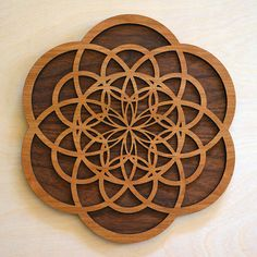 Flower of Creation Laser Cut Wooden Wall Art - Wood Sacred Geometry Symbol Meditative Conscious Cons Wooden Wall Art, Wooden Walls, Walnut Plywood, Finished Plywood, Cnc, Sacred Geometry Symbols, Wooden Hangers, Rooms Home Decor, Sacred Geometry