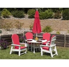 PolyWood South Beach 5 Piece Dining Set by Polywood. $1449.95. This is the PolyWood South Beach 5 piece round table patio furniture set. The set includes 4 South Beach Adirondack dining chairs (SBD16) and one 36 inch round patio table (RT236). The South Beach Collection captures the Miami art deco experience.