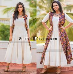 Sruthi Hariharan in Turquoise Design Studio white dress and kalamkari long jacket for Taarak promotions Designer Party Wear Dresses, Kurti Designs Party Wear, Indian Designer Outfits, Indian Outfits, Simple Kurta Designs, Kurta Designs Women, Frock Fashion, Fashion Dresses, Kalamkari Dresses