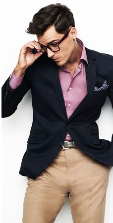 Pink shirt   blue blazer   Fashion   Pinterest   Blue blazers