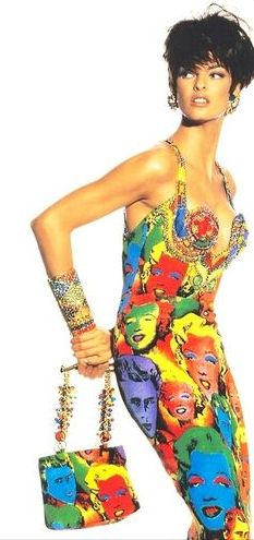 """Linda Evangelista in the Andy Warhol inspired """"Marilyn"""" dress by Gianni Versace, photographed by Irving Penn, 1991."""