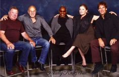 The five captains- tos, tng, ds9, voayager and the enterprise