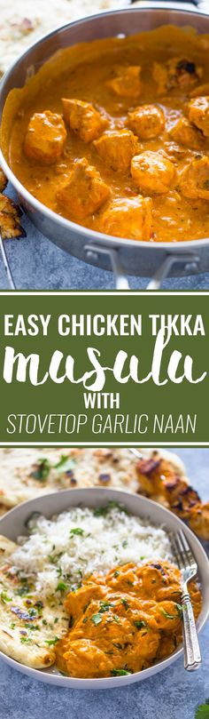 Easy Chicken Tikka Masala with Stove-Top Garlic Naan *** use tandoori masala instead Easy Chicken Tikka Masala, Indian Chicken Curry, Chicken Tandoori Masala, Chicken Butter Masala, Yellow Curry Chicken, Recipe For Chicken Tikka, Tikka Recipe, Easy Chicken Curry, Indian Food Recipes