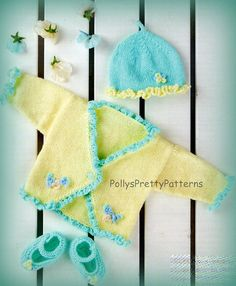 """Instant Download - PDF Knitting Pattern Pretty Cardigan, Hat & Shoe Set 16-24"""" Chests"""