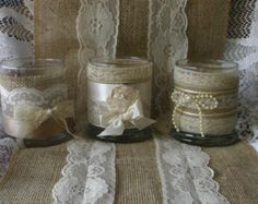 Vintage lace wedding tea candles Victorian by Bannerbanquet