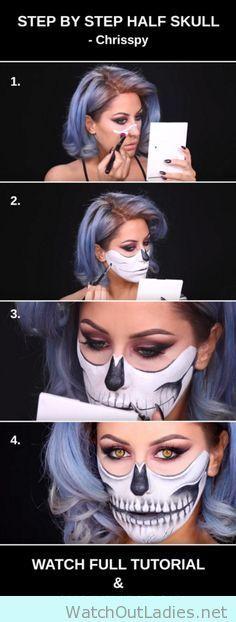 Half Skull step by step tutorial for halloween - http://watchoutladies.net/half-skull-step-by-step-tutorial-for-halloween/