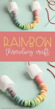 Rainbow Craft for toddlers and Preschoolers – Threading Craft Rainbow Craft for toddlers and Preschoolers – Threading Craft,Kita Projektideen Edible rainbow necklace. Rainbow craft for toddlers and preschoolers. A threading craft and fine motor. Daycare Crafts, Preschool Crafts, Fun Crafts, Creative Crafts, Quick Crafts, Summer Crafts For Preschoolers, Decor Crafts, Resin Crafts, Toddler Preschool