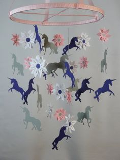 Unicorn and Flower Decorative Mobile in Pink by whimsicalaccents Modern Baby Mobiles Handmade Paper Mobiles Ceiling Decor Nursery Decoration Hanging Baby Mobile Crib Mobile Baby Shower Gift Photo Prop Birthday Gift Classroom Decor Pink Purple Girl Bedroom Unicorn Bedroom Decor, Mermaid Bedroom, Unicorn Rooms, Unicorn Art, Unicorn Diys, Cartoon Unicorn, Girls Bedroom, Girl Nursery, Bedrooms
