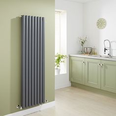 Milano Aruba - Anthracite Vertical Designer Radiator 1600mm x 472mm (Double Panel) - Grey Anthracite Vertical Designer Radiator in green kitchen