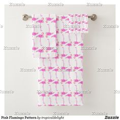 Pink Flamingo Pattern Bath Towel Set