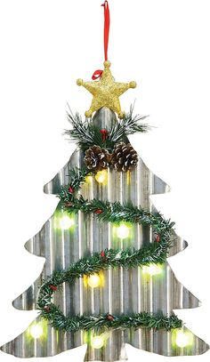led lighted corrugated metal christmas tree or wreath light up wall hanging holiday decoration metal - Metal Christmas Decorations