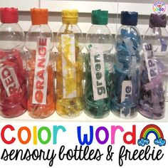 How to make color word sensory bottles for your preschool, pre-k, or kindergarten classroom. (freebie too)