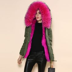 Large fur collar jacket women's Army green rose red lining Faux fur jacket winter women's Coat-in Fur & Faux Fur from Women's Clothing & Accessories on Aliexpress.com | Alibaba Group