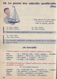 Manuels anciens: Canac, Jughon, Ma première grammaire CE (1963) : grandes images French Education, French Lessons, Home Schooling, Learn French, French Language, Book 1, Vocabulary, Teaching, Languages