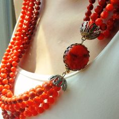 1950's vintage necklace - Tangerine Orange This beautiful cascading necklace is a statement piece to compliment any outfit. Jewelry Necklaces