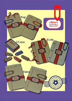 Free PDF, SVG, Tutorial.  Memo in a minute note books tabs and paper clip matchbox