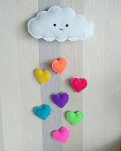 Cloud and Rainbow Heart Hanging Felt wall Decoration for Kids Room, Handmade