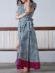 Buy Indigo Fuschia Tie Up & Pocket Detailed Natural Dyed Block Printed Cotton Maxi Dress Online at Jaypore.com