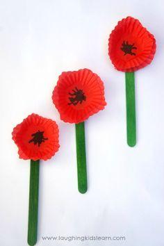 Cupcake poppy craft ANZAC activity for kids