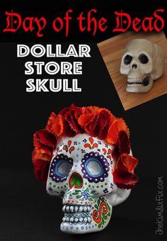 Turn a dollar store skull into a pretty Dia de Los Muertos sugar skull