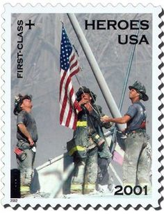 9/11/2001 - Heroes USA - This stamp depicts three firefighters at Ground Zero after the attack of September 11, 2001. The stamp paid the 34-cent postage rate for first class mail. The additional 11-cents went to a fund to provide financial assistance to families of emergency relief personnel killed or permanently disabled as a result of the September 11th attacks.