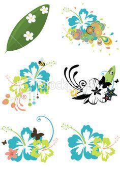 Six design elements with Hawaiian flowers on summer theme Royalty Free Stock Vector Art Illustration