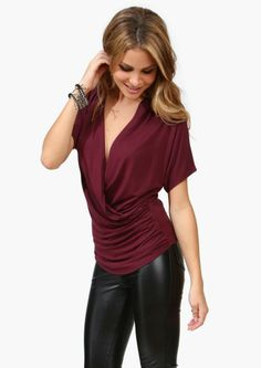 Wine cowl neck top and black leather skinnies