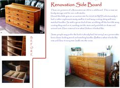Side board Renovation. Miss Match, Craft Projects, Craft Ideas, Side Board, Love Craft, Creative Crafts, Auction, Crafty, Storage