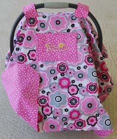 Princess Car Seat Cover in Bright Pinks Gray and by Debsflorals, $29.99
