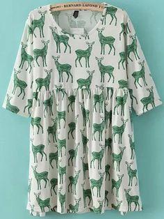 Green Half Sleeve Deer Print Loose Dress