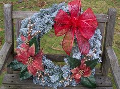 Christmas Wreath, Flocked with Red Poinsettias, Gold Berries.  Evergreen Wreath (artificial Pine).  Large, 18-inch.  www.etsy.com/shop/NaturesCraftSupply
