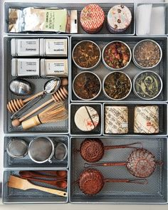 Tea Supplies Be ready to make the perfect pot with strainers, tea balls, honey dippers, and special tea leaves all in one drawer.