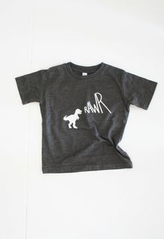 RAWR / vintage graphic tee / baby toddler kid / hipster / screen printed tshirt onesie / dino / charcoal
