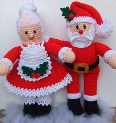 CV120 - Santa & Mrs. Claus Crochet Pattern - $7.99  Santa & Mrs Claus want to help you decorate for the holidays!!!  They are made from worsted weight yarn and will brighten up any room they are in.  Mrs Santa has her hair up in a bun and her apron on so she can start baking some cookies for Santa.  (he really likes her oatmeal cookies the best!!!)  Her apron is decorated with two holly leaves and three berries.  Santa's hat is decorated with a holly leaf and one berry.  SKILL LEVEL:  Interm...