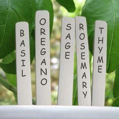 Garden Markers, Copper, Gardener Gift, Popsicle Sticks, Set of 5 - Mini Wim Plant Markers, Garden Markers, Aluminum Metal, Popsicle Sticks, Garden Gifts, Farmhouse Chic, Love Design, Popsicles, Laser Engraving
