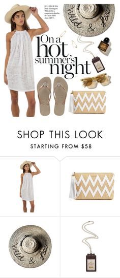 """on a hot summer's night"" by sanddollardubai on Polyvore featuring Pitusa, Havaianas, Melissa Odabash, Kate Spade, Jeweliq and Whiteley"