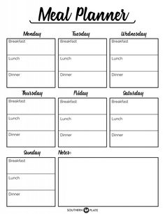 Free Printable Menu Planner Sheet ~ https://www.southernplate.com