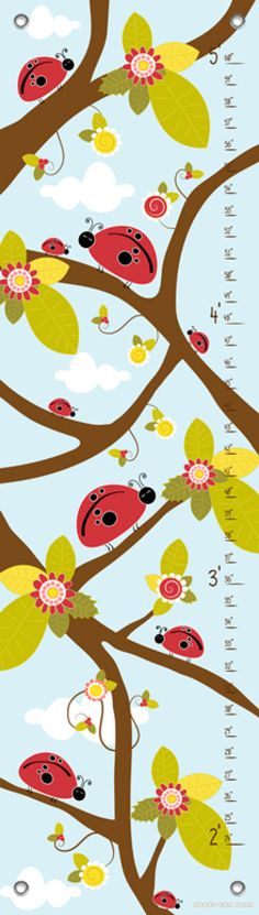 Ladybug Branches - Blue Growth Charts