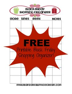 FREE Printable Black Friday Shopping Organizer - My Husband Ate All My Ice Cream