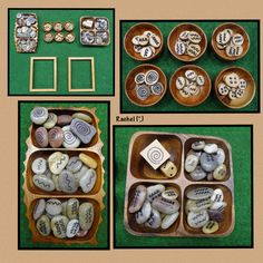 """Provocation to create transient art with patterned stones and wood slices from Rachel ("""",)"""