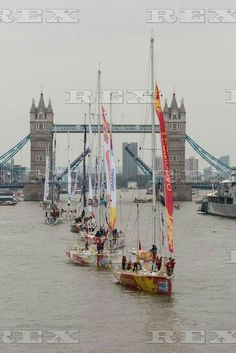Clipper round the world race launch, London, Britain - 30 Aug 2015  Clipper yachts parade on the River Thames 30 Aug 2015