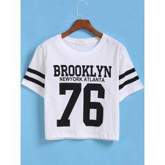 White Short Sleeve BROOKLYN 76 Print Number Comfort Racewear Monogrammed Crop T-Shirt Length(cm): 50cm Sleeve Length(cm): 23cm Bust(cm): 96cm Shoulder(cm): 45c…